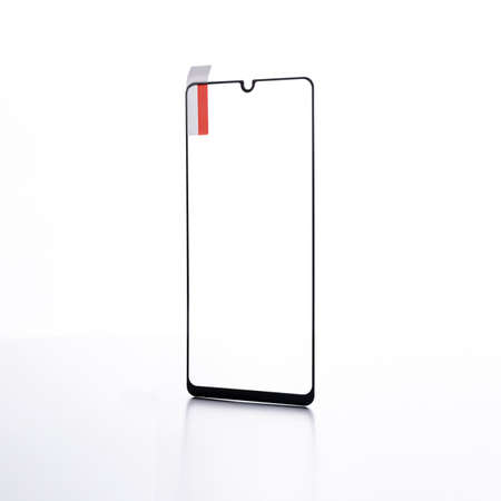 protective glass for a smartphone on a white background 免版税图像 - 158057110