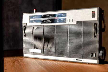 old rarity soviet radio on the shelf
