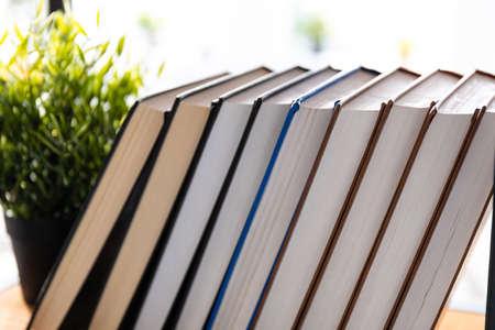 stack of books on the shelf 免版税图像