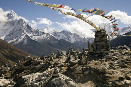 himalayas: On the trail between Duglha and Lobuche is a memorial area for climbers known as Chukpilhara. Most memorials are for sherpas and climbers that died on Everest, but there are memorials for other famous climbers that have past away or died on other peaks. A