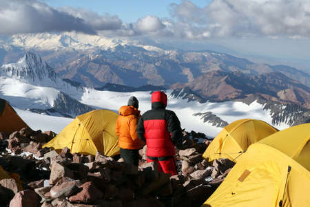 horcones: Alpine climbers acclimating at camp two of Aconcagua
