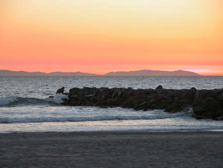 Sunset over Catalina Island from Newport Beach. photo