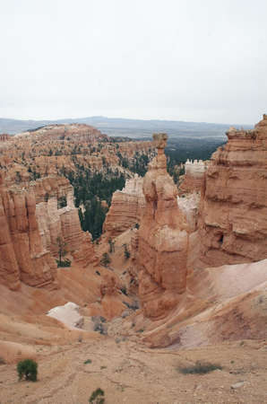 thor's: Sunset Point and Thors Hammer in Bryce National Park. Stock Photo
