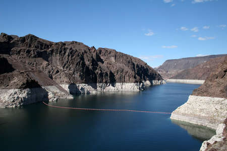 damn: Lake Mead from the Hoover Dam, Arizona Stock Photo