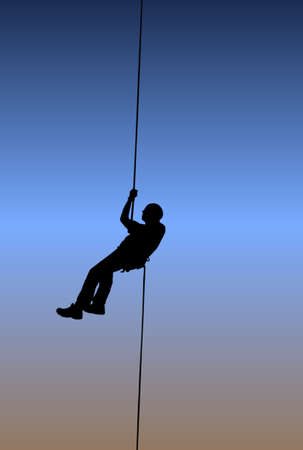 rappeling: Rappelling during a summers sunset while experiencing the freedom of youth.