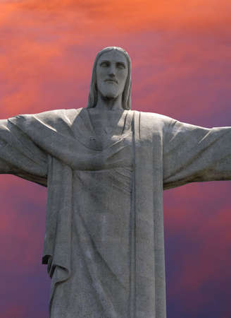 the redeemer: Christ the Redeemer statue on Corcavado Mountain, Rio Editorial