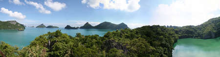 A view of the lagoon and ocean from the view point on Mae Koh Island, Thailand. Stock Photo