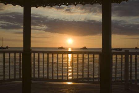 hotel balcony: A Jamaican sunset from a romantic gazebo
