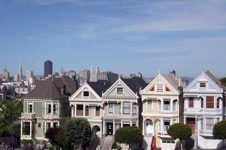 Row of houses at Alamo Square, San Francisco photo