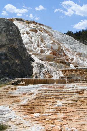 Terraced geyser at Mammoth Hot Springs. photo