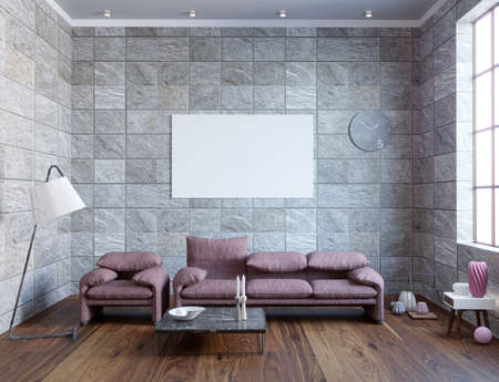 3d rendering of new loft living room interior with dusty pink sofa Stok Fotoğraf