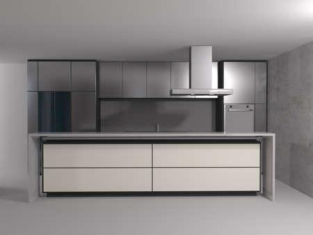 3d rendering of new modern kitchen interior design