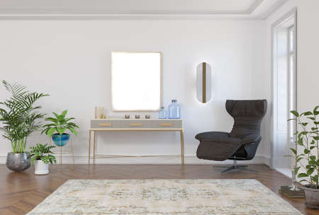 3d rendering of neoclassical interior room with armchair, console and mock-up pattern