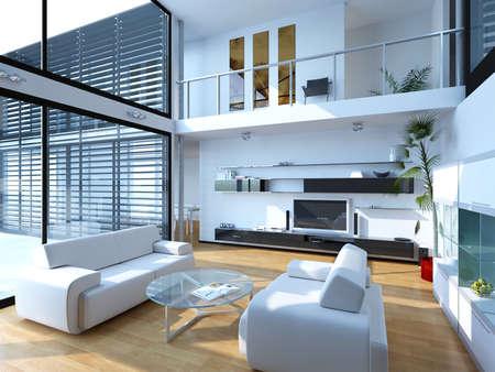 3d rendering of living room interior Stock fotó