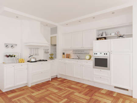 3d rendering of new classic kitchen interior design
