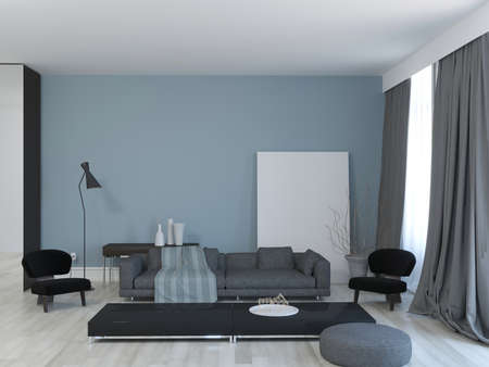 3d rendering of living room with blue wall and mock up pattern.