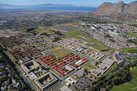 Cape Town, Western Cape / South Africa - 07/28/2015: Aerial photo of Pollsmoor Prison 에디토리얼