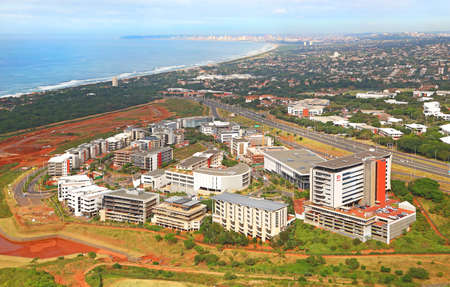 Durban, KwaZulu Natal / South Africa - 05/30/2019: Aerial photo of Umhlanga Ridge with Durban CBD in the background Editorial