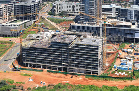 Durban, KwaZulu Natal / South Africa - 11/26/2019: Aerial photo of a construction site