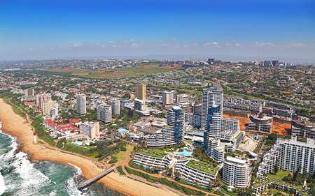 Durban, Kwa-Zulu Natal / South Africa - 10/15/2018: Aerial photo of Umhlanga Rocks and Lighthouse Banco de Imagens - 151595585