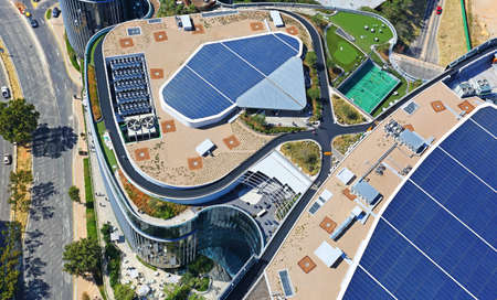 Sandton, Gauteng / South Africa - 03/26/2019: Aerial photo of Discovery Head Office and solar panels