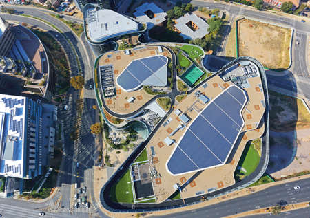 Sandton, Gauteng / South Africa - 05/28/2019: Aerial photo of Discovery Head Office rooftop Publikacyjne