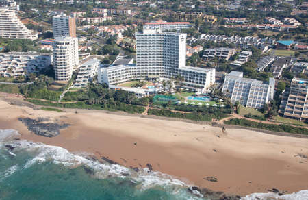 Durban, Kwa-Zulu Natal / South Africa - 08/03/2020: Aerial photo of Umhlanga beachfront and Umhlanga Sands