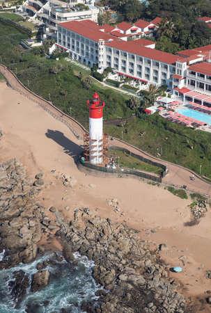 Aerial photo of Umhlanga beachfront and lighthouse Banco de Imagens