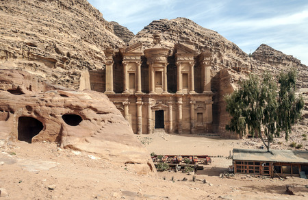 The Monastery in ancient city of Petra, Jordan on a sunny day.