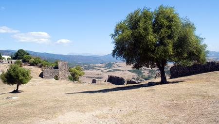 Landscape of fields seen from the top of the castle of Jimena de la Frontera