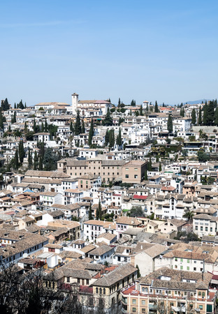 Aerial view of Granada to the river Darro aside surrounded by modern buildings Stok Fotoğraf
