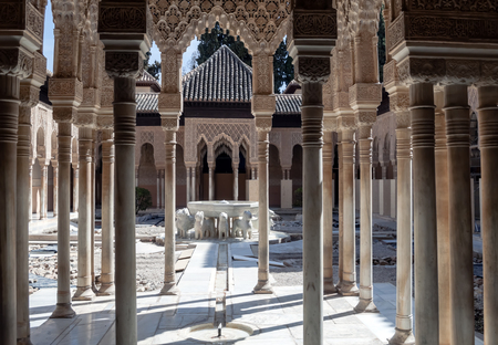 Courtyard of the Lions located inside the Nasrid monument of the Alhambra