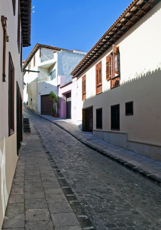 View of a paved road in the Spanish town of garachico