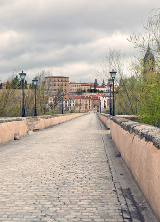View of the City of Salamanca from the bridge of River Pisuerga are lamps on both sides 免版税图像