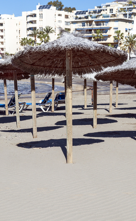 Umbrellas on a beach in Andalusia