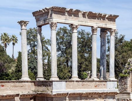 Roman ruins in the Spanish city of Merida Stock Photo