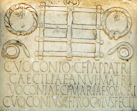 Roman ruins in the Spanish city of Merida Standard-Bild - 114424345