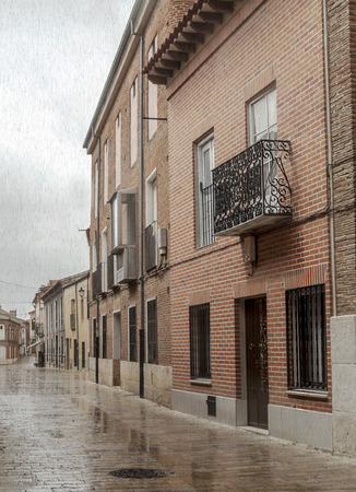 Street of Alaejos in Valladolid on a rainy day Stock fotó