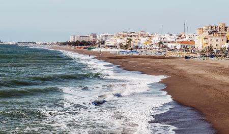 Beach of Torremolinos in Málaga 스톡 콘텐츠