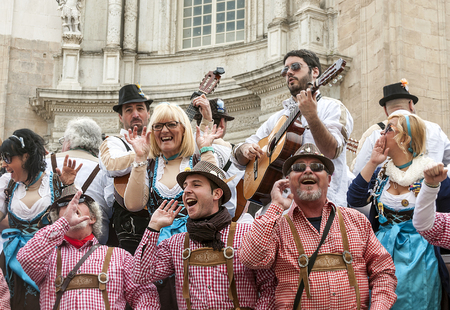 CADIZ, SPAIN - FEBRUARY 2014. People in disguise singing in the carnivals of Cadiz