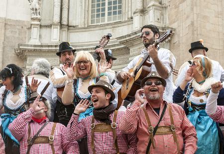 CADIZ, SPANIEN - FEBRUAR 2014. Menschen in Verkleidung singen im Karneval von Cadiz