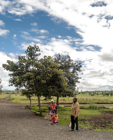 Rift Valley, Kenya - MAY, 2014: Street market in a small village in Kenya