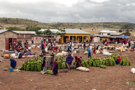 ARUSHA, TANZANIA - OCTOBER 21, 2014 : Typical street scene in Arusha. Arusha is located below Mount Meru in the eastern branch of the Great Rift Valley and the capital of the Arusha Region.