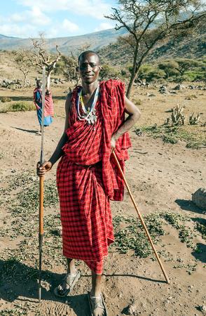 SERENGETI, TANZANIA - MAY 14:portrait on an African man of Masai Mara tribe village smiling to camera e,review of daily life of local people,near Serengeti National Park