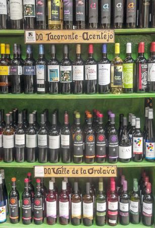LA OROTAVA TENERIFE SPAIN - JUNE 2014. Wine exhibitor that puts Tacoronte de Acentejo and Valle de la Orotava 報道画像