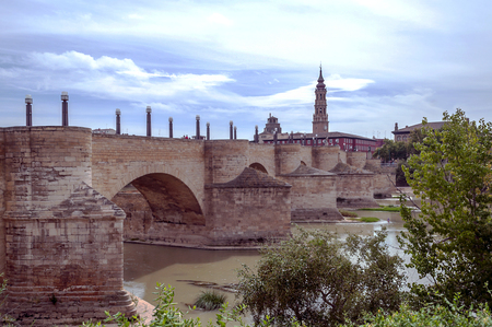 Ebro River in Zaragoza with buildings on one side