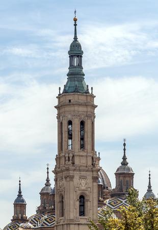 Basilica del Pilar in Zaragoza in the north of Spain in a cloudy day Stock Photo