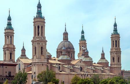 Basilica del Pilar in Zaragoza in the north of Spain in a cloudy day