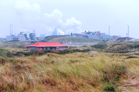 Wijk Ann Zee beach in Holland on a cloudy day.
