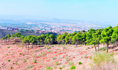 Forests of the Spanish city of Granada with views of the city Stok Fotoğraf